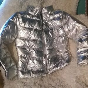 NWT silver metallic shiny puffer coat
